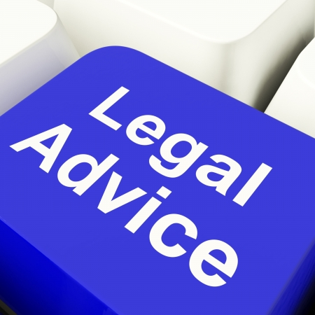 Legal Advice Computer Key In Blue Showing Lawyer Guidance Stock Photo - 11947786