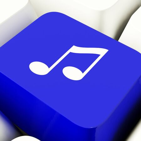 Music Symbol Computer Key In Blue Showing Online Radio Channels Or Audio Stock Photo - 11947624
