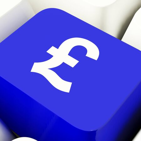 Pound Symbol Computer Key In Blue Showing Money And Investments Stock Photo - 11947625