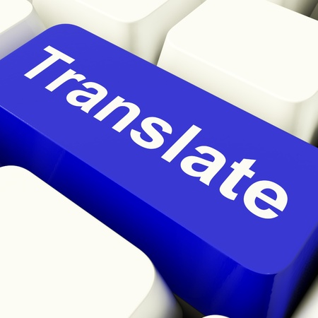 translator: Translate Computer Key In Blue Showing Web Translator