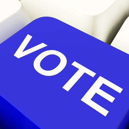 Vote Computer Key In Blue Showing Options Or Choice Stock Photo - 11947572