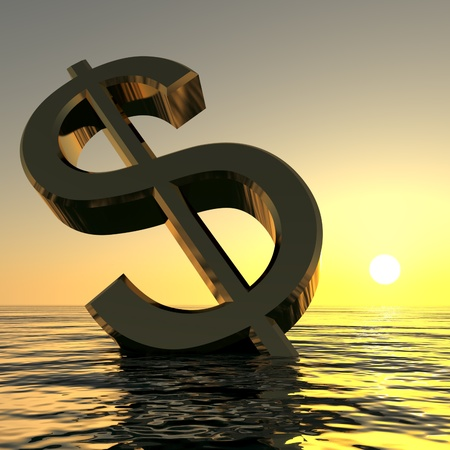 bearish market: Dollar Sinking And Sunset Showing Depression Recession And Economic Downturns