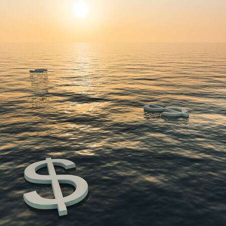 Dollars Floating To A Sunset Showing Money Wealth Or Earning Stock Photo - 11948467