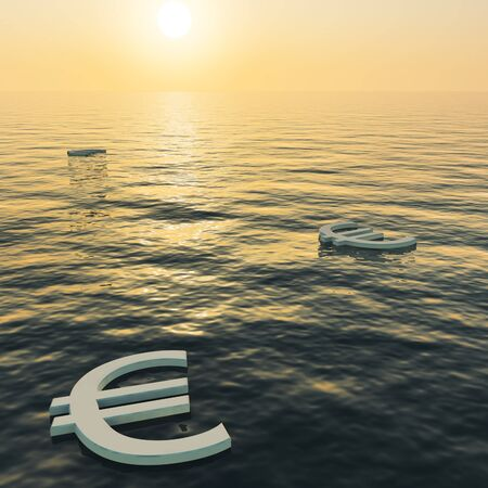 Euros Floating To A Sunset Showing Money Wealth Or Earning Stock Photo - 11948461