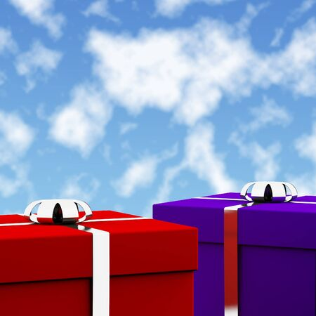 Red And Blue Gift Boxes With Sky Background As Present For Him And Her photo