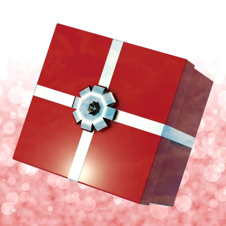 Red Giftbox With Bokeh Background For Girls Birthdays photo