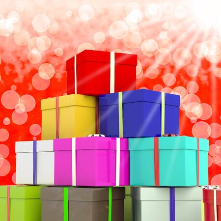 Multicolored Giftboxes  With Bokeh Background As Presents For Family photo