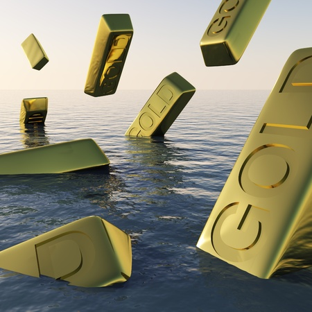 Gold Bars Sinking  Showing Depression Recession And Economic Downturns Stock Photo - 11948411