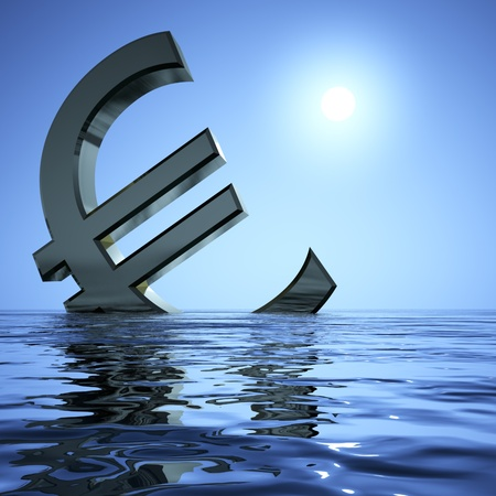 bearish market: Euro Sinking In The Sea Showing Depression Recession And Economic Downturns