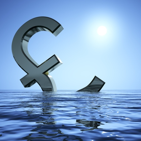 bearish market: Pound Sinking In The Sea Showing Depression Recession And Economic Downturns