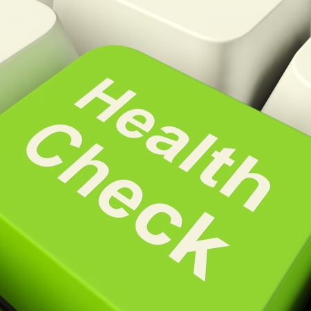 monitoring: Health Check Computer Key In Green Showing Medical Examinations