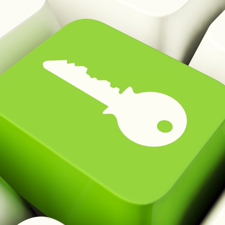Key Computer Button Green Showing Security And Protection Stock Photo - 11947628