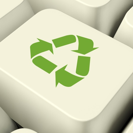 friendliness: Recycle Icon Computer Key In Green Showing Recycling And Eco Friendliness Stock Photo