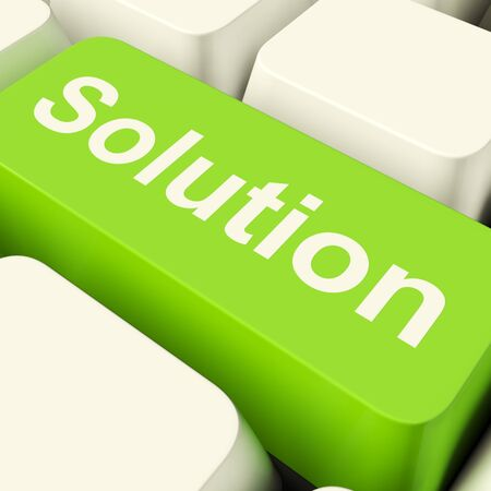 business solutions: Solution Computer Key In Green Showing Success And Strategy