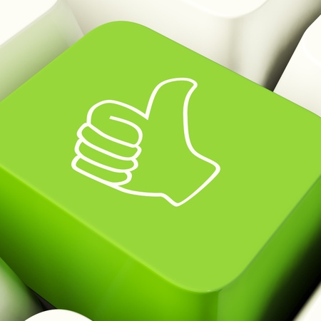 Thumbs Up Computer Key Showing Approval And Being A Fan Stock Photo - 11947744