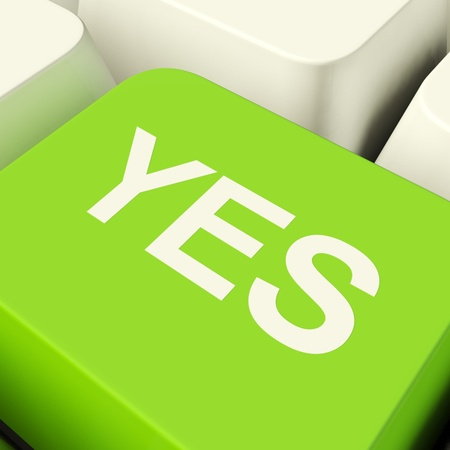 Yes Computer Key Green Showing Approval And Support Stock Photo - 11947616