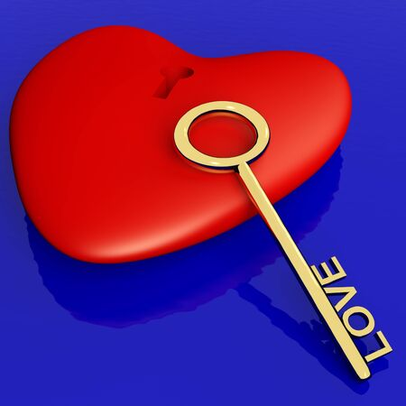 Heart With Key Showing Love Romance And Valentines Day Stock Photo