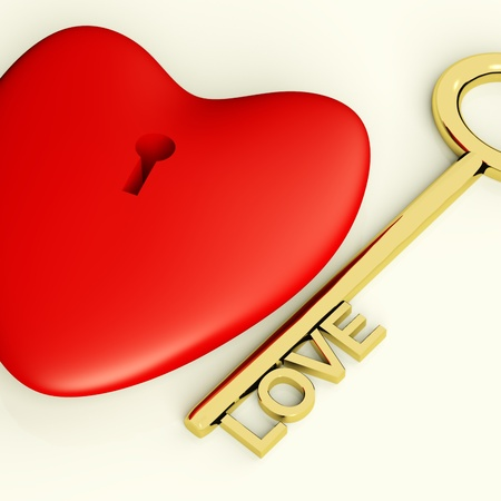 Heart With Key Closeup Showing Love Romance And Valentine Stock Photo - 11947938