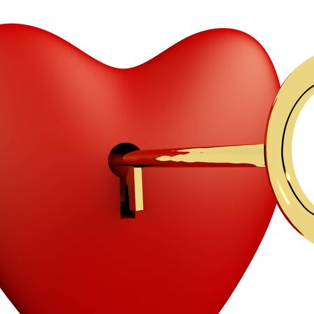 Heart With Key Close Up Showing Love Romance And Valentine photo