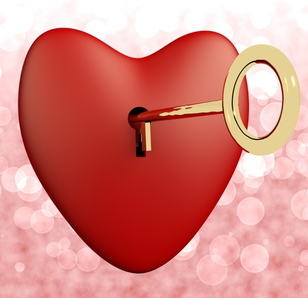Heart With Key And Pink Bokeh Background Showing Love Romance And Valentine photo