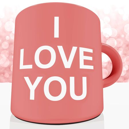 I Love You Mug With Bokeh Background Showing Romance And Valentine photo