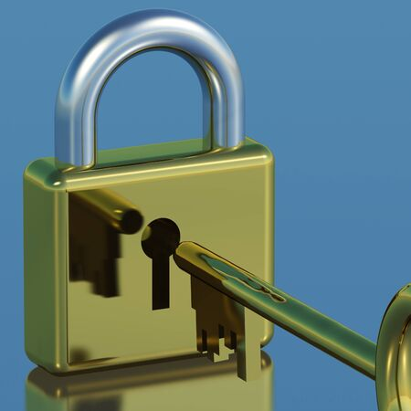 Padlock With Key Showing Security Protection Or Safety Stock Photo - 11948158