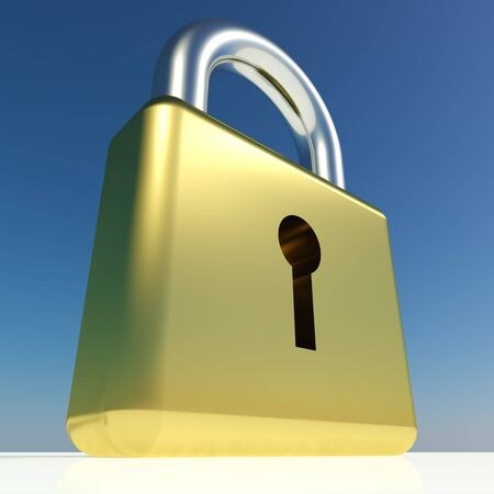 Big Padlock Showing Security Protection Or Safety Stock Photo - 11947623