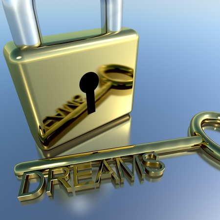 envision: Padlock With Dreams Key Showing Wishes Hopes And Future Stock Photo