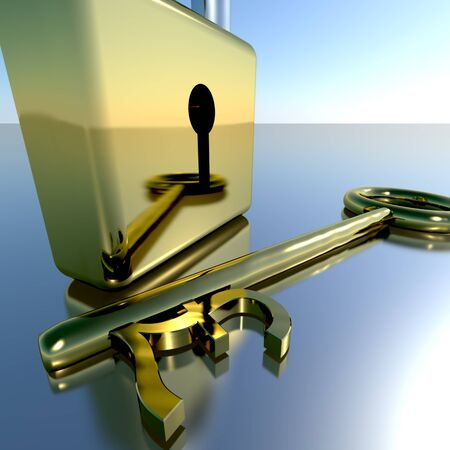 Pound Key With Padlock Showing Banking Savings And Finances Stock Photo - 11948133