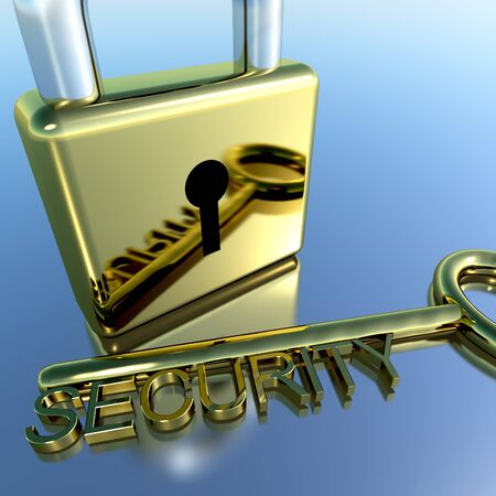 Padlock With Security Key Showing Protection Encryption Or Safety Stock Photo - 11948324