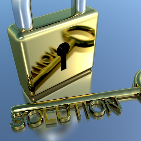 financial advice: Padlock With Solution Key Showing Strategy Planning And Successes