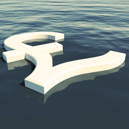Pound Floating Showing Money Wealth Or Earning Stock Photo - 11948135