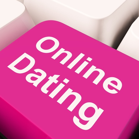 Online Dating Computer Key Showing Romance And Love photo