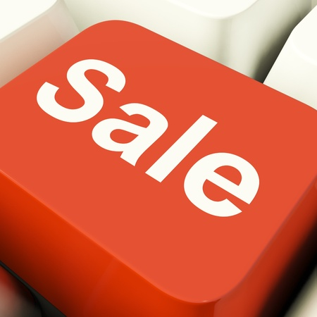 Sale Computer Key Showing Promotion Discount And Reductions Stock Photo - 11947752