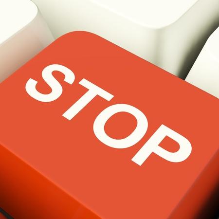 denial: Stop Computer Key Showing Denial Panic Or Negativity