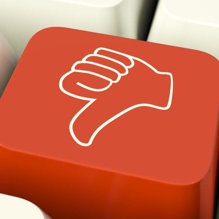 Thumbs Down Icon Computer Key Showing Dislike Failure Or False Stock Photo - 11947644