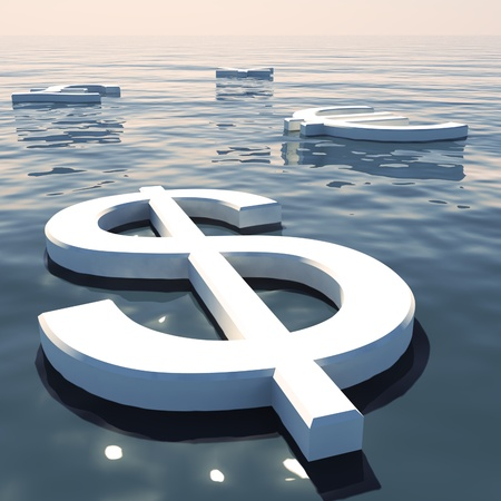 exchange rate: Dollar Floating And Currencies Going Away Showing Money Exchange And Forex