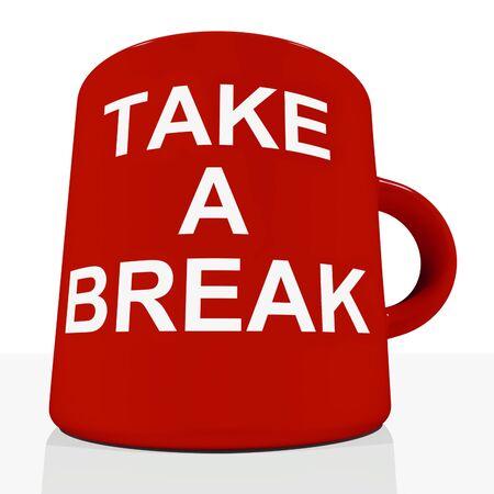 pausa: Tome una taza de Vacaciones Mostrando relajante o cansancio