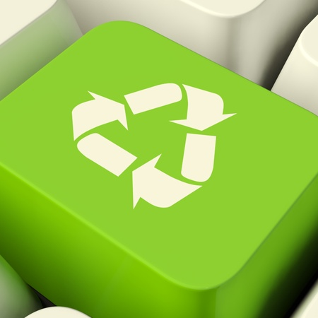 Recycle Computer Key In Green Showing Recycling Or Eco Friendly photo