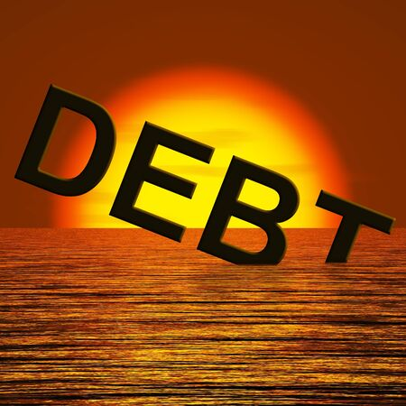 indebtedness: Debt Word Sinking In The Sea Showing Bankruptcy Poverty And Being Broke