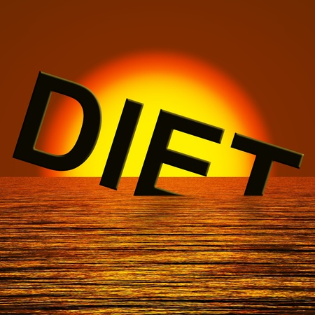 fail: Diet Word Sinking In The Sea Meaning Broken Diet Stock Photo