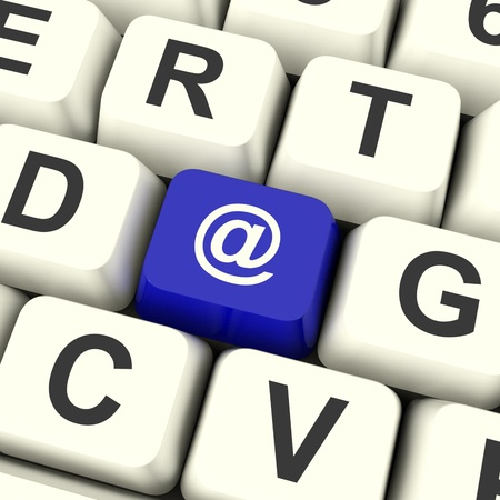 contacting: Email Computer Key In Blue For Emailing Or Contacting Stock Photo