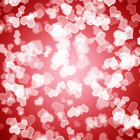 Red Hearts Bokeh Sparkling Background Showing Love Romance And Valentines photo