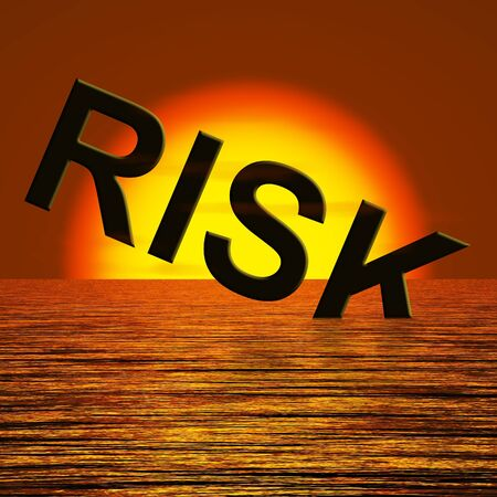 Risk Word Sinking In The Ocean Showing Uncertainty Stock Photo - 12637727