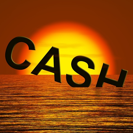 Cash Sinking In The Sea And Sunset Showing Depression Recession And Economic Downturn Stock Photo - 12637690
