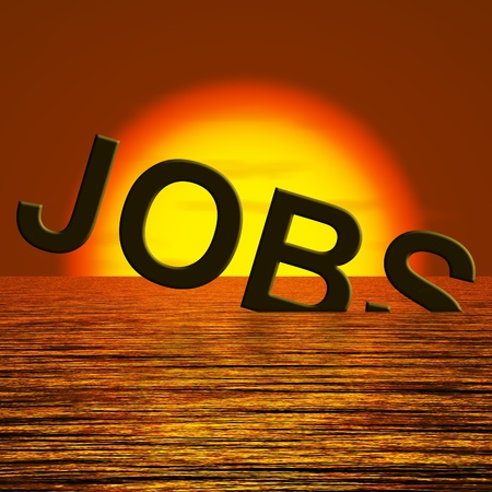 downsized: Jobs Word Sinking Showing Job Layoffs And Unemployment Stock Photo