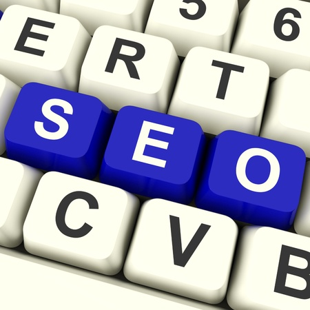 Seo Keys In Blue Representing Internet Optimization And Promotion Stock Photo - 12637269