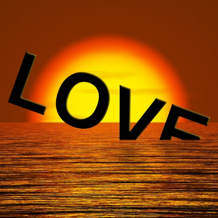 Love Word Sinking In THe Sea Showing Loss Of Love And Broken Heart