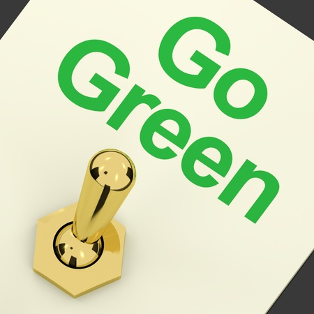 Go Green Switched On Showing Recycling And Eco Friendly photo