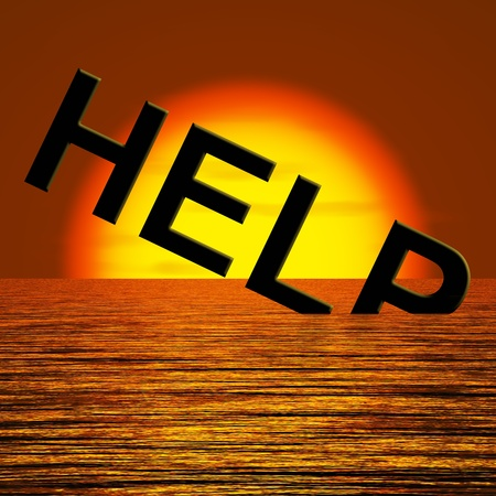 Help Word Sinking In The Sea As Symbol For Needed Support Stock Photo - 12637731